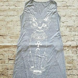 Dresses & Skirts - Gray Sphinx Cat Long Sleeveless Dress Size XL